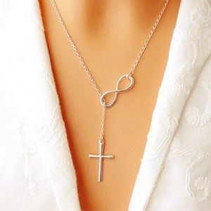New! Silver infinity cross necklace